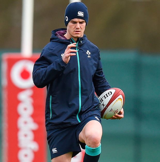 Jonathan Sexton in action during Ireland squad training at Carton House