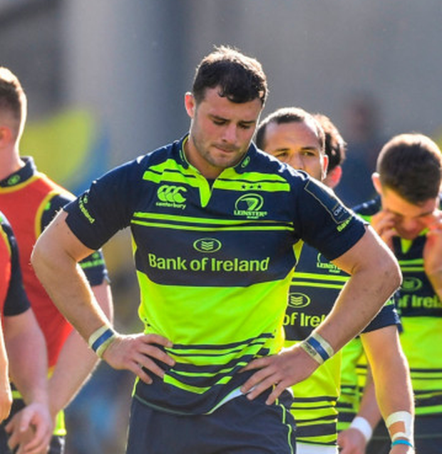 Leinster's Robbie Henshaw shows his disappointment after yesterday's defeat to Clermont. Pic: Sportsfile