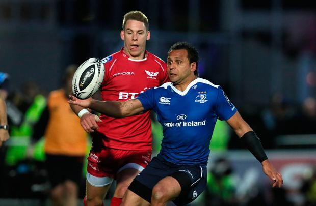 Leinster's Isa Nacewa (right) and Scarlet's Liam Williams