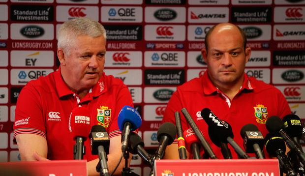 British and Irish Lions coach Warren Gatland and Rory Best are pictured during a press conference at the Hamilton Novotel ahead of tomorrow's clash with The Chiefs. PA