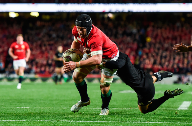 Sean O'Brien goes over to score the Lions' first try during against New Zealand at Eden Park in Auckland. SPORTSFILE