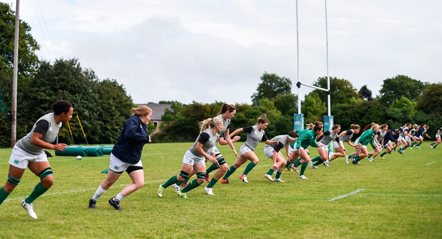 The Ireland team during the Ireland Women's Rugby Captains Run at UCD in Dublin