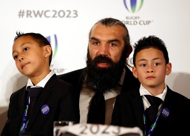 Sebastien Chabal, #France2023 Leader and Bid Ambassador, with Brayley and Dhyreille Lomu, children of Jonah Lomu, made an emotional plea for France to be awarded World Cup 2023 host status