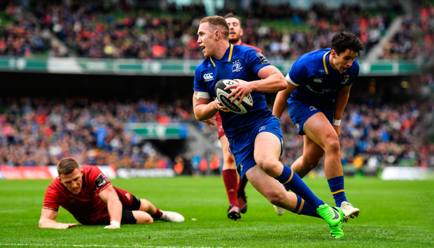 Rory O'Loughlin runs in to score his and Leinster's second try during the Guinness PRO14 match against Munster at the Aviva Stadium. Photo: SPORTSFILE