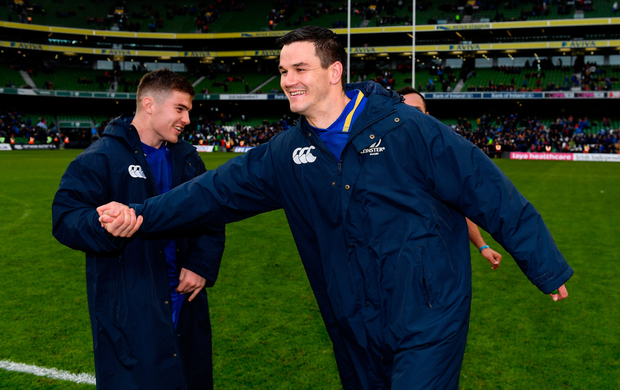 Leinster's Jonathan Sexton and Luke McGrath (left) after the game. Photo: SPORTSFILE