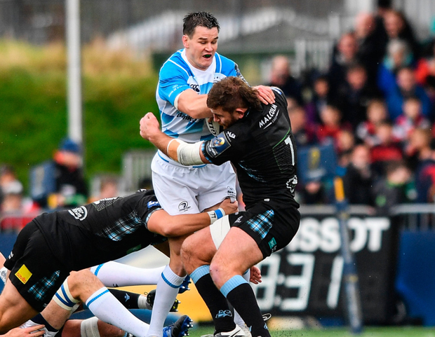Jonathan Sexton takes on the Glawgow defence at Scotstoun on Saturday