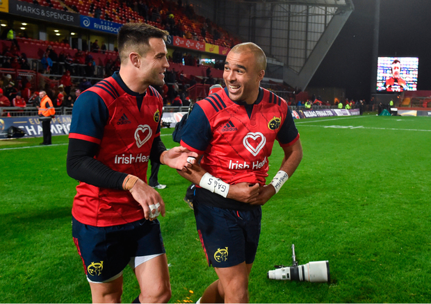 Simon Zebo (r) and Conor Murray share a joke after the clash against Racing 92. Pic: racingpost.com