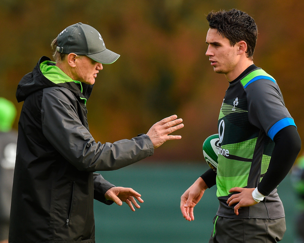 Joey Carbery with Ireland head coach Joe Schmidt.