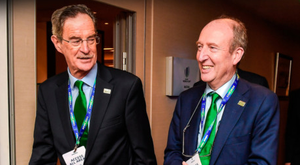 Ireland 2023 Oversight Board chairman Dick Spring (left) with Minister for Transport, Tourism and Sport Shane Ross at the Rugby World Cup 2023 host union announcement at the Royal Garden Hotel, London. Pic: Sportsfile