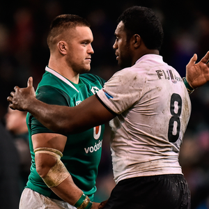 Andrew Porter of Ireland and Nemani Nagusa of Fiji shake hands. Photo: Sportsfile