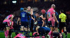 Leinster's Jack Conan gets to his feet after scoring his side's second try after 44 phases Photo: Getty