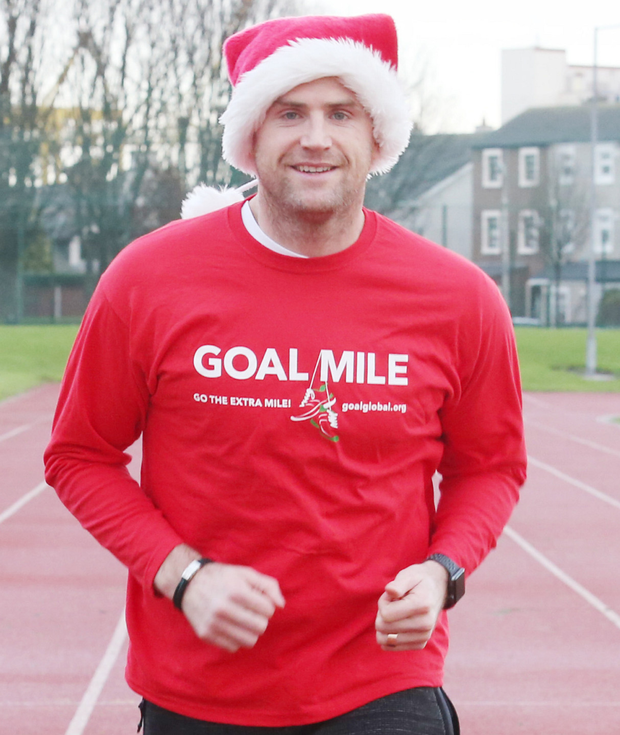 Irish and Leinster rugby star Jamie Heaslip at the launch of the 2017 GOAL Miles in Irishtown Stadium. The popular annual fundraiser, which is now in its 36th year, will be staged at more 130 locations nationwide over the Christmas and New Year period. To find your local GOAL Mile, visit www.goalglobal.org Pic: Leon Farrell/Photocall Ireland
