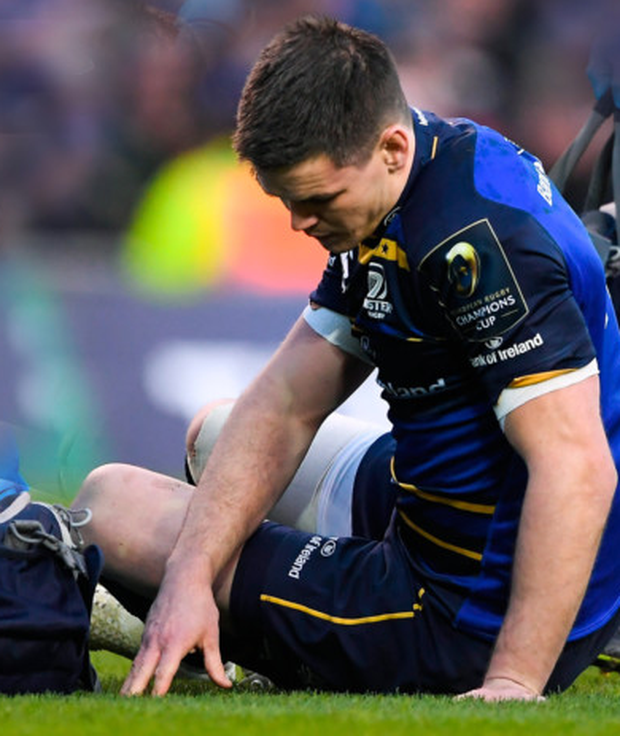 Jonathan Sexton of Leinster on the ground before going off during the Champions Cup match against Exeter at the Aviva Stadium. Pic: Sportsfile