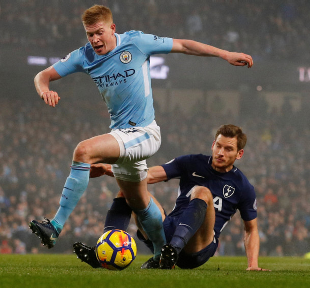 Kevin de Bruyne is hauled down for a penalty in Manchester City's win over Tottenham Hotspur last Saturday. Photo: Reuters