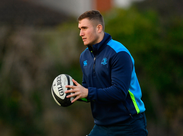 Jordan Larmour lines out at full-back for Leinster at Thomond Park today. Pic: Sportsfile