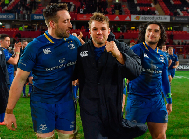 Leinster's Jack Conan, Jordi Murphy and James Lowe leave the pitch after yesterday's win. Pic: Sportsfile