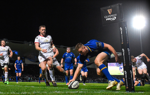 Jordan Larmour of Leinster scores his side's fifth try during the Guinness PRO14 match against Ulster at the RDS. Photo: Sportsfile