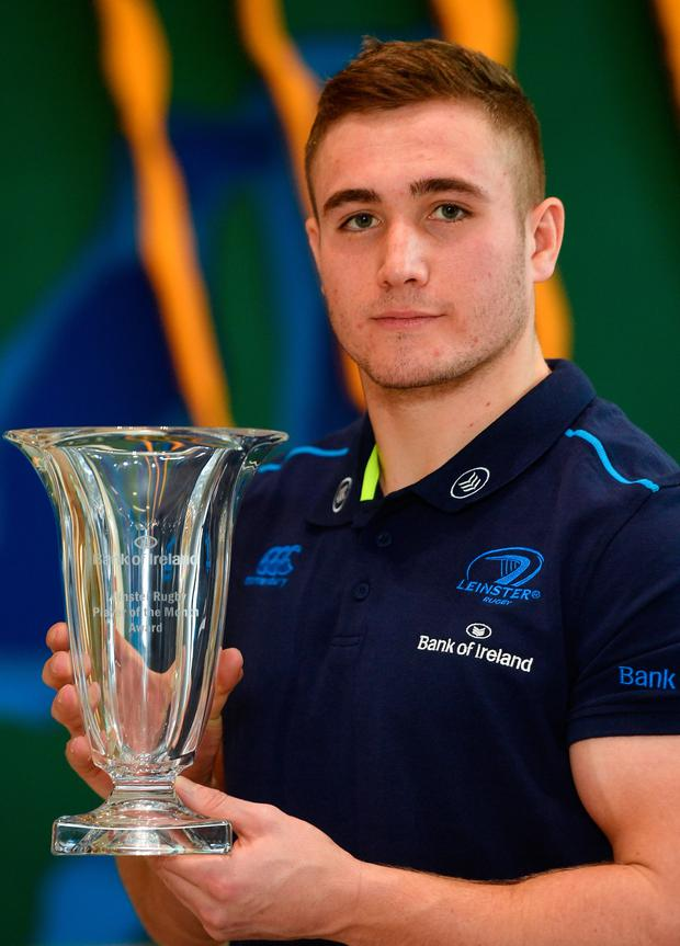 Jordan Larmour with his Bank of Ireland Leinster Player of the Month award. Pic: Sportsfile
