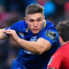 Leinster star Jordan Larmour faces a huge test against giant Montpellier wing Nemani Nadolo. Pic: Sportsfile