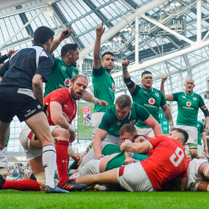 BONUS POINT: Ireland players (l-r) Bundee Aki, Conor Murray, Dan Leavy, Andrew Porter and Devin Toner celebrate as Cian Healy scores his side's fourth try during the Six Nations match against Wales at the Aviva Stadium. Photo: Sportsfile