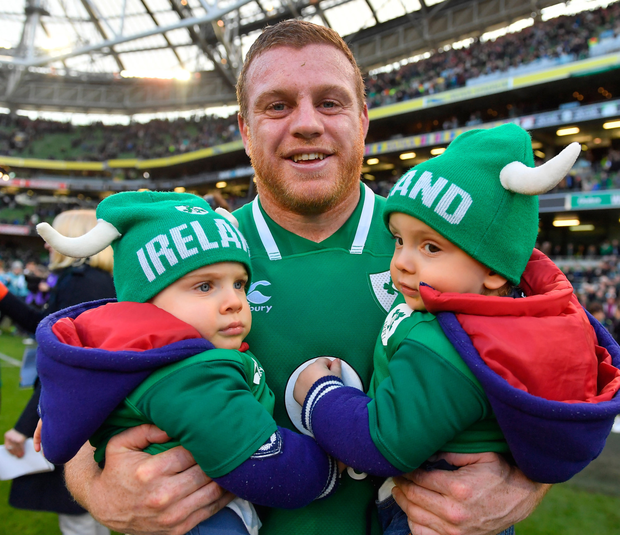 HAPPY FAMILY: Sean Cronin of Ireland with his sons Cillian and Finn after the Six Nations win over Scotland on Saturday. SPORTSFILE