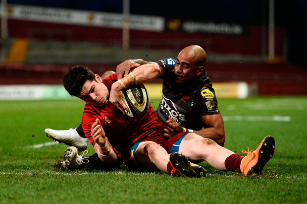 Alex Wootton scores Munster's second try against Scarlets