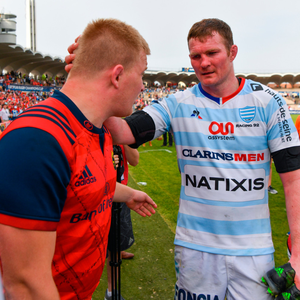 FINAL CALL: Racing 92's Donnacha Ryan (r) consoles Munster's John Ryan after the game. Photo: SPORTSFILE