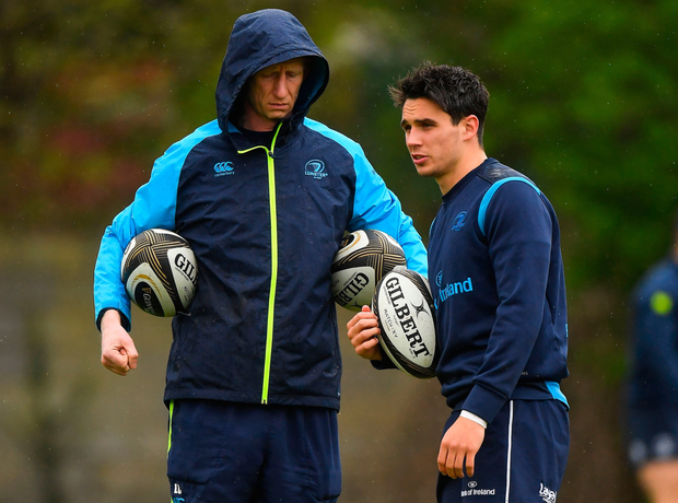 BLUE 15: Leinster head coach Leo Cullen with Joey Carbery. Photo: SPORTSFILE