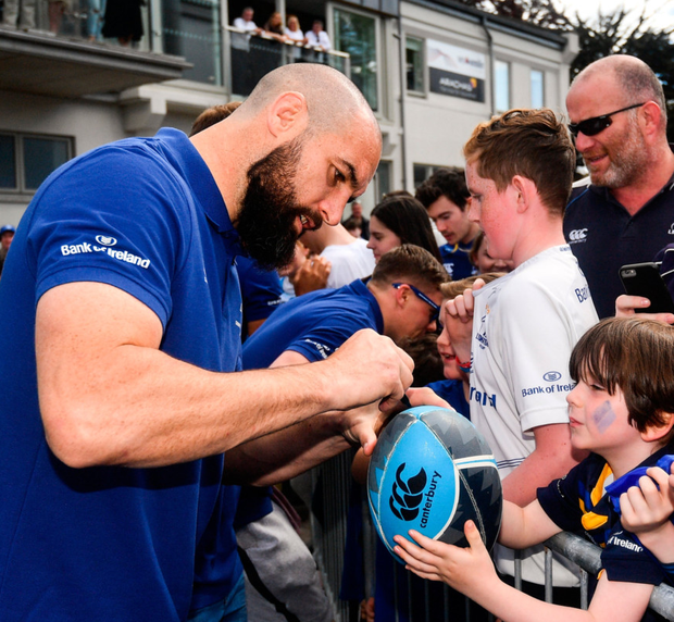 Fanbase: Scott Fardy during the Leinster homecoming in Energia Park yesterday