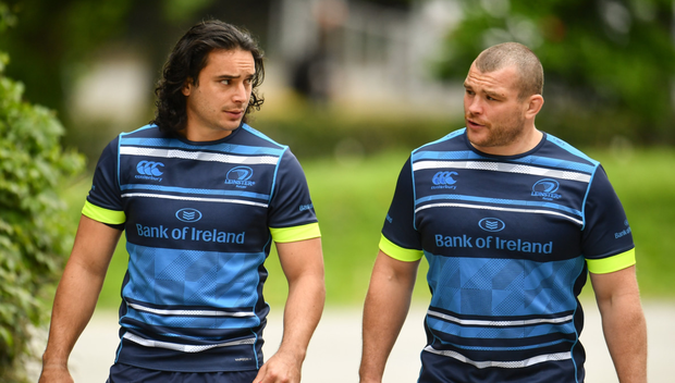 Eyes on the prize: James Lowe and Jack McGrath before training yesterday
