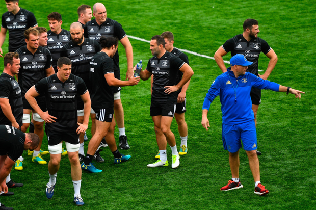 BACK IN BUSINESS: Backs coach Felipe Contepomi (right) during Leinster squad training at Energia Park in Donnybrook. Photo: SPORTSFILE