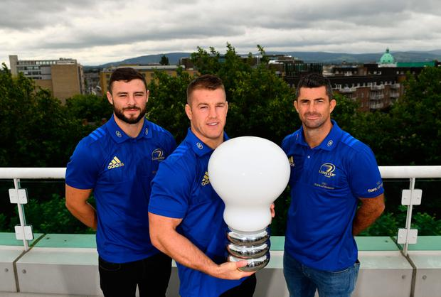 ALL SET: At the announcement of Leinster's new innovation partnership with BearingPoint were (l-r): Robbie Henshaw, Seán O'Brien and Rob Kearney. Photo: SPORTSFILE