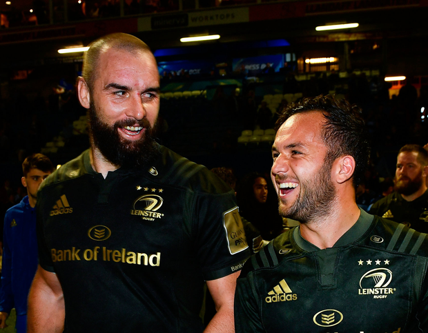 ALL SMILES: Scott Fardy (left) and Jamison Gibson-Park of Leinster following the Guinness PRO14 win over Cardiff. Pic: Sportsfile