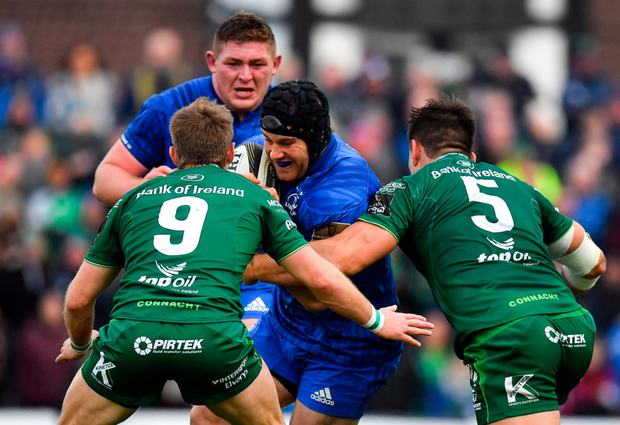 Leinster's Seán O'Brien is tackled by Connacht's Quinn Roux during last weekend's PRO14 clash at The Sportsground, Galway