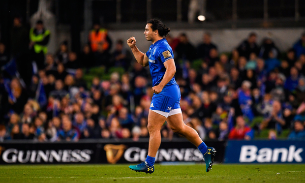 TRIUMPH: Leinster's James Lowe celebrates after Saturday's PRO14 victory over Munster at Aviva Stadium. Photo: SPORTSFILE