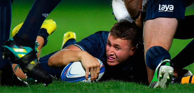 Leinster's Jordan Larmour in the thick of the action against Wasps at the RDS last Friday night