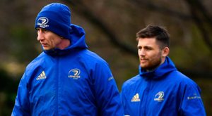 Leinster head coach Leo Cullen, left, and Ross Byrne are pictured during training at Rosemount in UCD ahead of tomorrow's Heineken Champions Cup clash with Wasps. Photo: Sportsfile