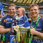GREAT DAY: Leinster's Mike Ross and son Kevin with team-mate Gordon D'Arcy following their 2012 Heineken Cup Final victory. Photo: SPORTSFILE