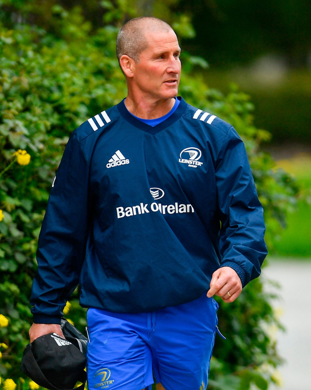 Stuart Lancaster on his way to Leinster training yesterday