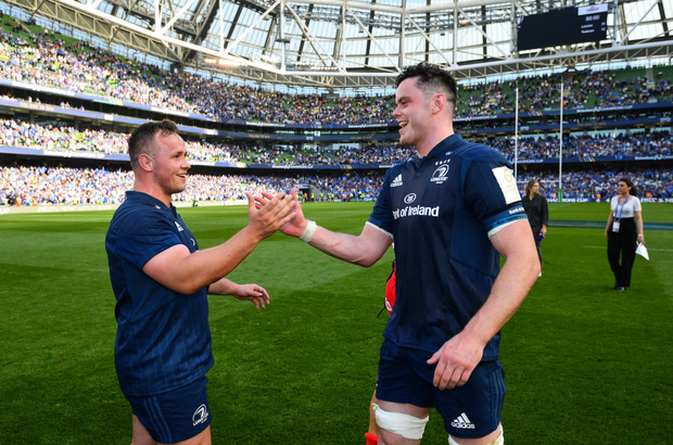 James Ryan (right) celebrates with Ed Byrne after the semi-final win over Toulouse last month