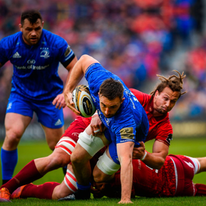 Inform Jack Conan bursts through the tackle of Arno Botha in their PRO14 semi-final