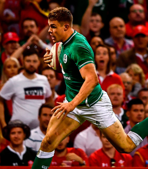 Garry Ringrose of Ireland on his way to scoring a try which was subsequently disallowed during the match against Wales at the Principality Stadium in Cardiff