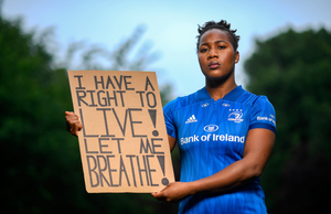 CAMPAIGN: Leinster and Ireland rugby player Linda Djougang at the launch of 'To The New Generation', a series of portraits of Black athletes in Ireland, representing their communities and families, and in some instances Ireland, in a variety of sports. Pic: Sportsfile