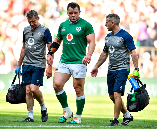 UNDER HIS OWN STEAM: Cian Healy leaves the pitch without any assistance, despite his hurt ankle. Photo: SPORTSFILE