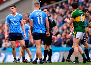 Dublin's Diarmuid Connolly is black-carded by ref Paddy Neilan during last Sunday's league final in Croke Park