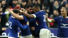 France celebrate their victory over England at Stade de France
