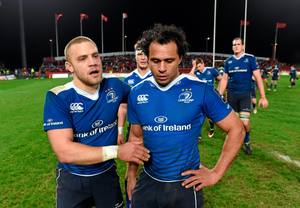 Ian Madigan and Isa Nacewa look tired after all their efforts  Photo:Sportsfile