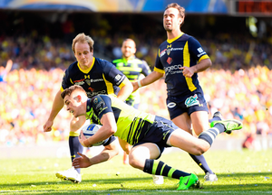 Leinster's Garry Ringrose goes over to score his try during yesterday's European Champions Cup semi-final clash against ASM Clermont Auvergne at Matmut Stadium de Gerland in Lyon. Pic: Sportsfile