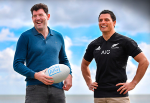 Touring Lion from 2005 Shane Horgan and former All-Black Doug Howlett at the launch of AIG's Ultimate All Blacks Experience competition, an all-expenses paid trip for two to New Zealand to watch the All Blacks take on the British and Irish Lions in June. For more information log on to www.aig.ie/the-all-blacks/aig-lions-tourcompetition. Pic: Sportsfile