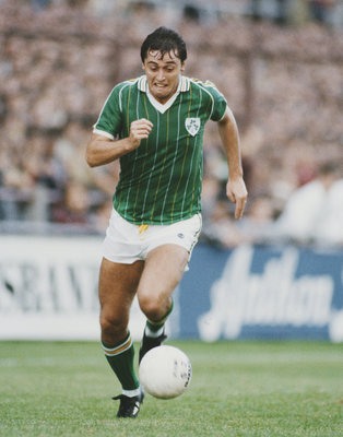 ROAD LESS TRAVELLED: The Rep of Ireland's Michael Robinson runs at the Soviet Union during a World Cup qualifier at Landsdowne Road in 1984. Photo: Allsport/Getty Images